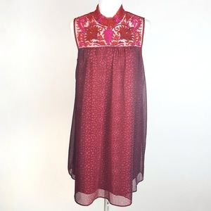 Anthro Niki Tlahapan Embroidered Trapeze Dress 12